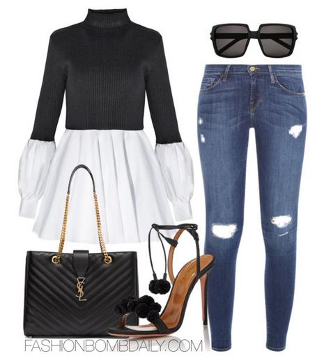 Spring-2016-Style-Inspiration-5-Fab-Denim-Looks-Aquazzura-Pon-Pon-Sandals-Saint-Laurent-Quilted-Monogram-Tote-FRAME-DE…