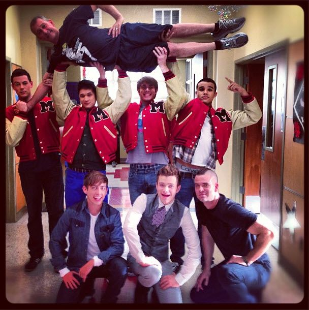 Finn, Mike, Ryder, Jake, Artie, Kurt, and Puck in Glee's