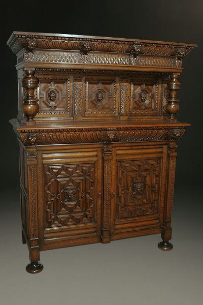 Late 19th century French Baroque style court cupboard made from carved oak. Circa 1890. #antique #cupboards