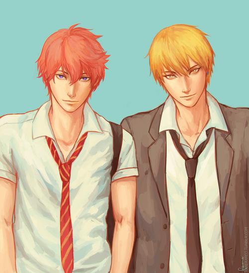 "Boys with ""kiss"" in their names ;) Kisumi Shigino, Kise Ryota http://karekareo.tumblr.com/"