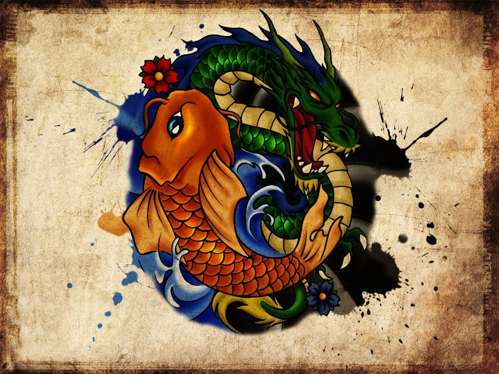 Dragon And Koi Tattoo Design Art Wallpaper Pic 7746 Wallpaper Koi Tattoo Design Tattoo Girl Wallpaper Koi Tattoo