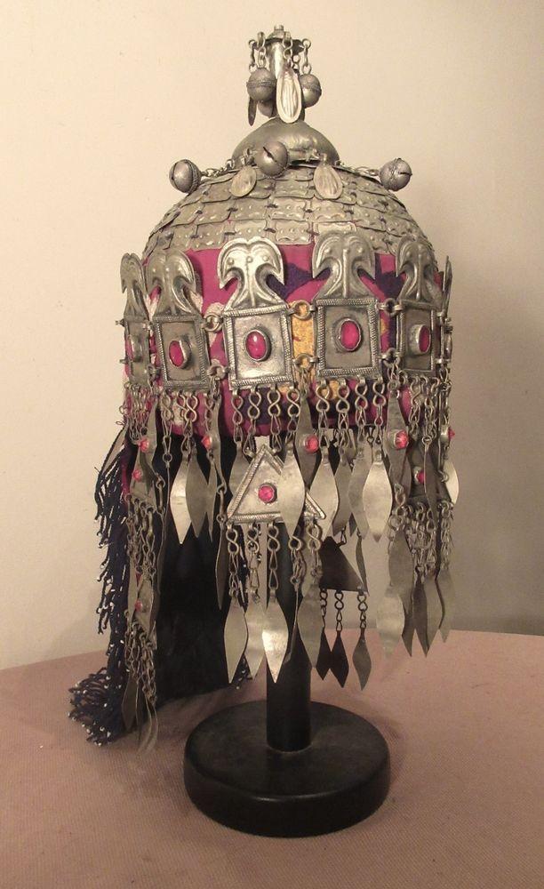 vintage handmade Turkoman Afghanstan ceremonial embroidered metal headdress hat  | eBay