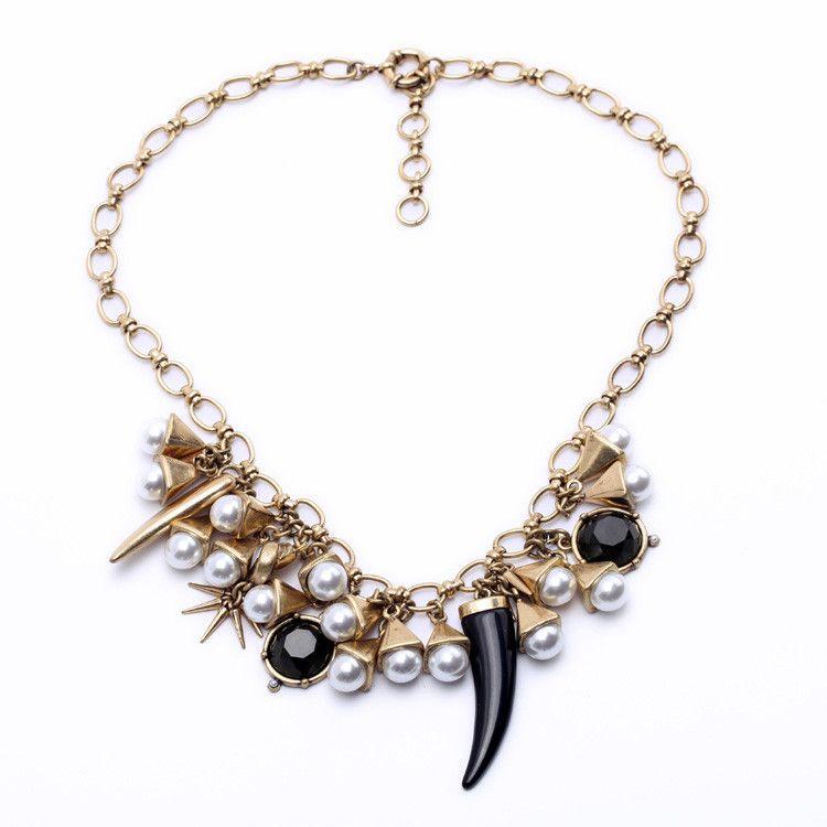 #AdoreWe Few Moda, Minimalistic Fashion Brands Online - Designer Few Moda Goldtone Horn Pear Bib Necklace - AdoreWe.com