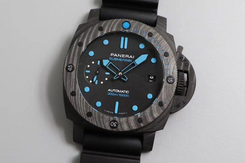 Replica Panerai PAM 960 Carbotech 42mm VSF Best Edition Black Dial Blue Markers on Rubber Strap P.9010 Clone【2020】   パネライ 時計 ...