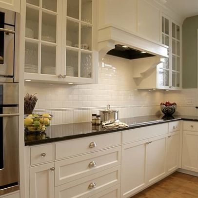 Subway Tile With Beadboard Tile Glass Fronted Kitchen Cabinets