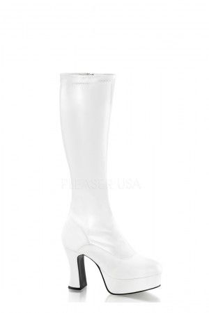 5bc9b54e378 White Chunky Platform GoGo Boots Faux Leather