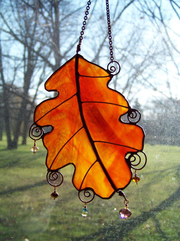 Autumn Oak Leaf Suncatcher with beads & wire by Glitz & Grandeur