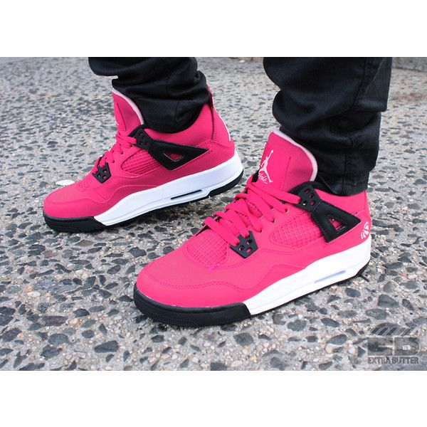 "5bd8a2d9dbd Girls Air Jordan Retro 4 ""Voltage Cherry"" ❤ liked on Polyvore ..."