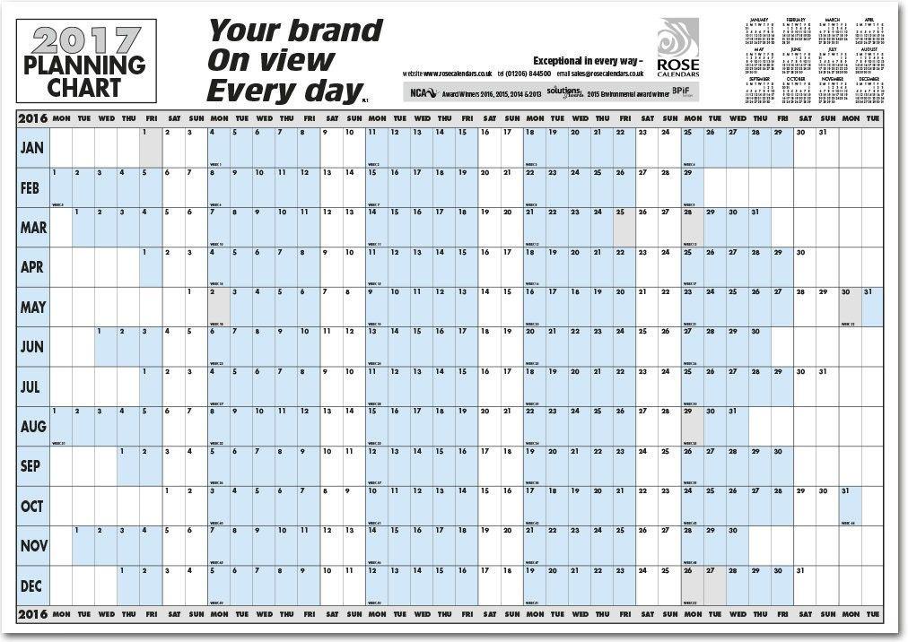 Year Calendar Horizontal : Horizontal planner printable yearly wall
