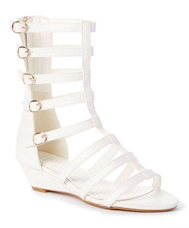 White Rome Wedge Gladiator Sandal