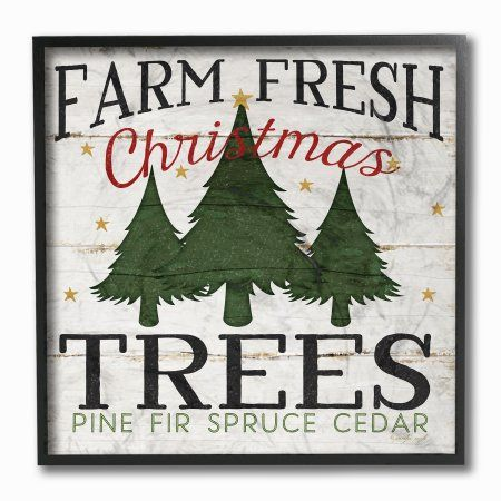 the stupell home decor collection farm fresh christmas trees framed giclee texturized art size 12 x 12 green fresh christmas trees walmart and