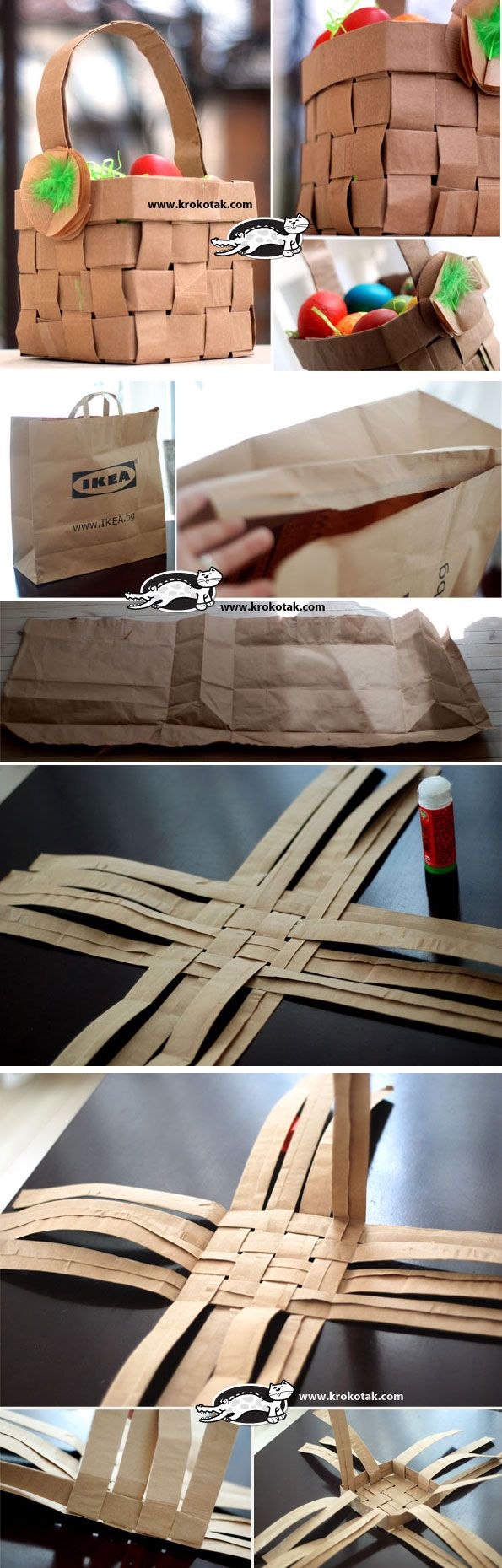 Recycled Paper Bag Basket Recycle Craft Pinterest