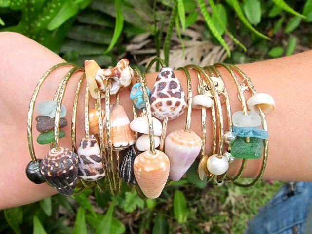 Gold Shell Bangle, Hawaii Beach Jewelry, Stacking Bangles, Hawaiian