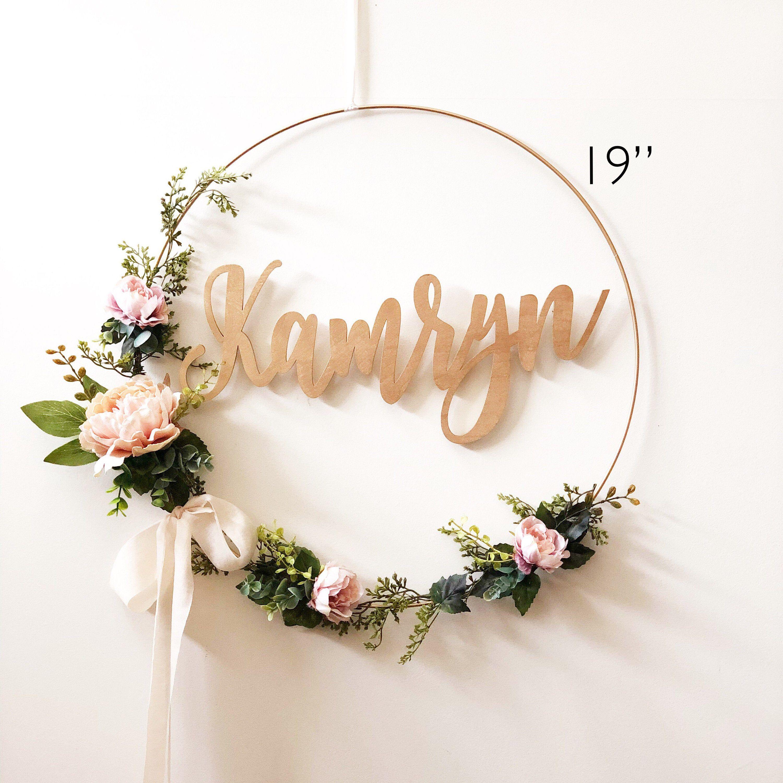 wreath shower nursery hoop floral blush wreaths signs