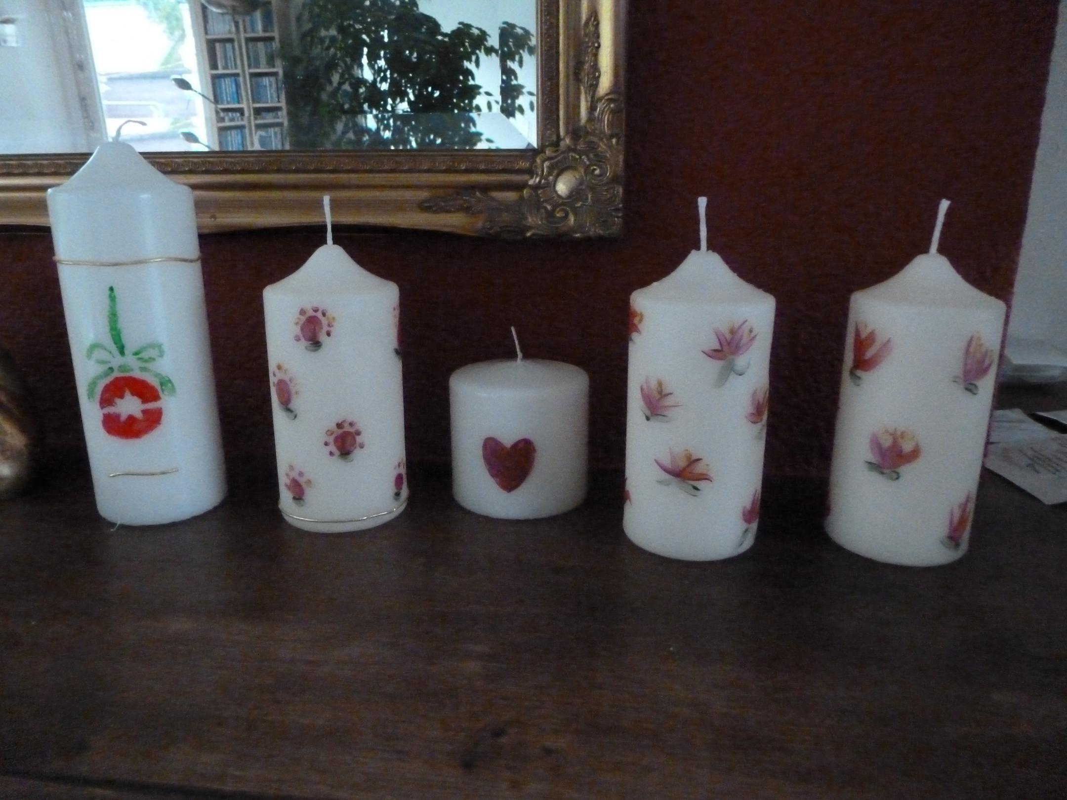 Kaarsen Beschilderen Met Acrylverf.Met Acryl Verf Beschilderd Kaarsen Versieren Kaarsen En