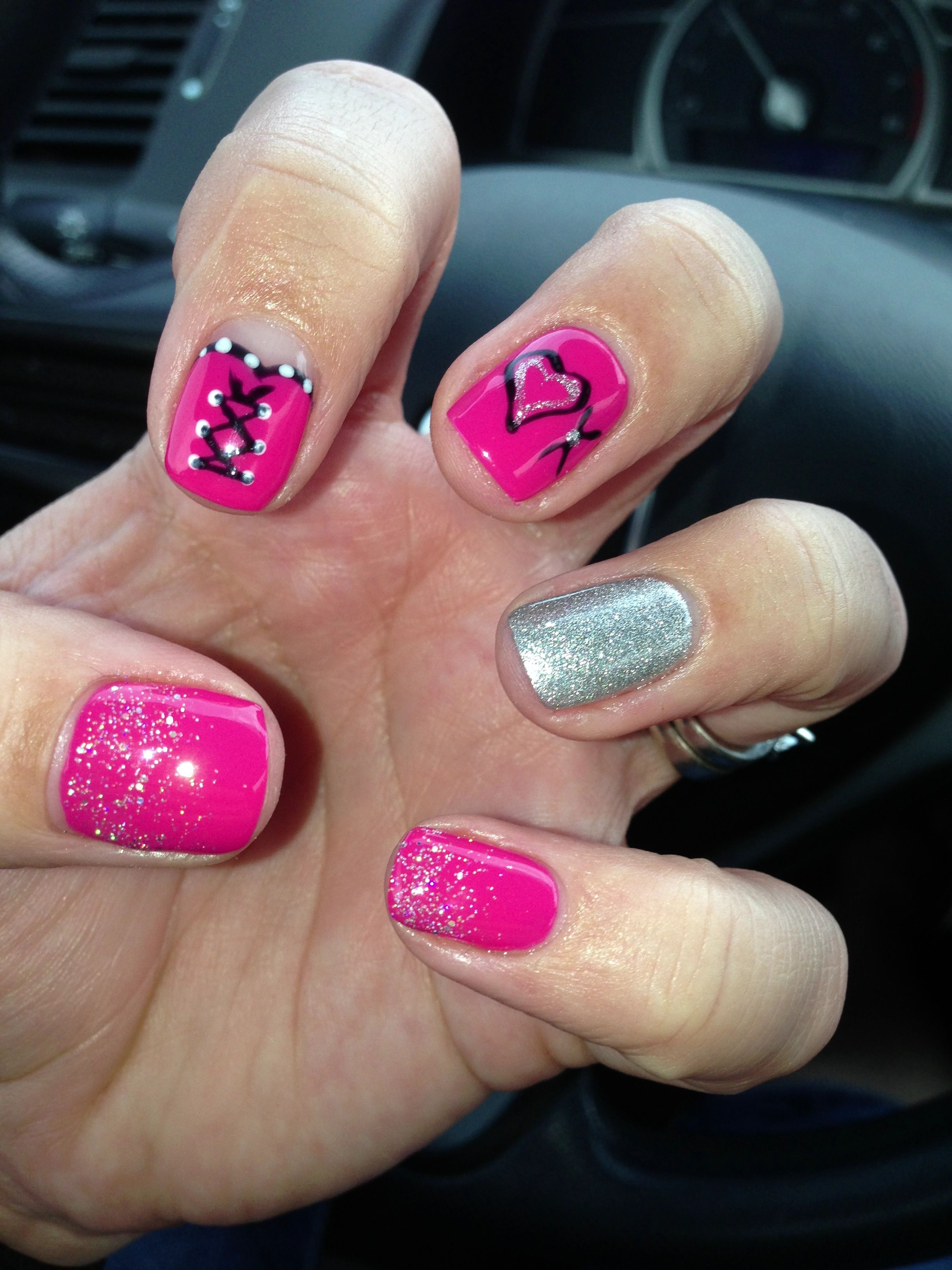 New gel nails, hearts xoxox nail design. Nails by Lena | My Nail Art ...