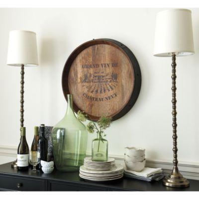 French Wine Barrel Plaque Ballard Designs Love The Lamps And Scroll With Buffet Wine Barrel Wall Wine Decor Ballard Designs