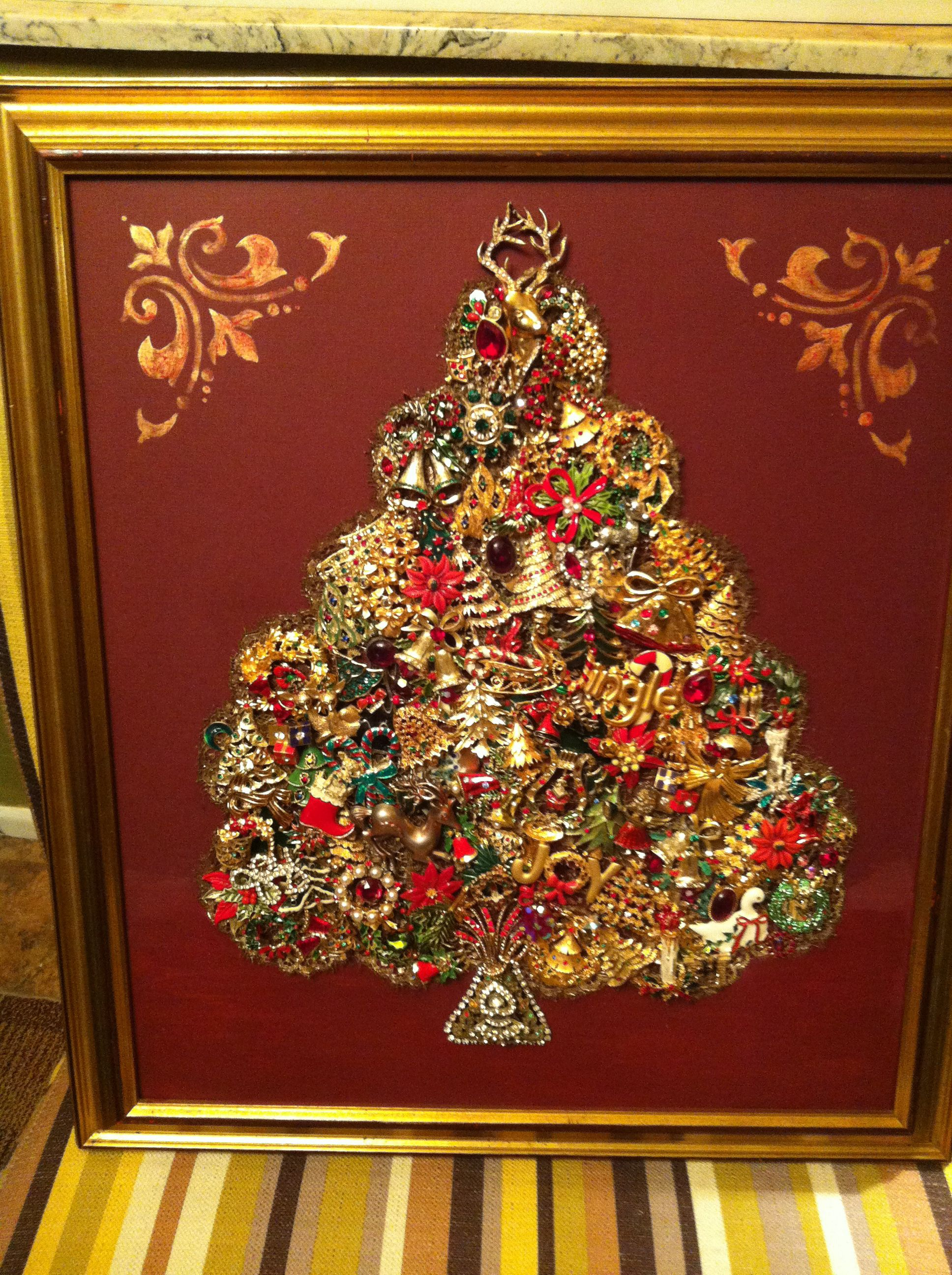 Newest tree…all Christmas pins!!! | repurposed vintage jewelry art ...