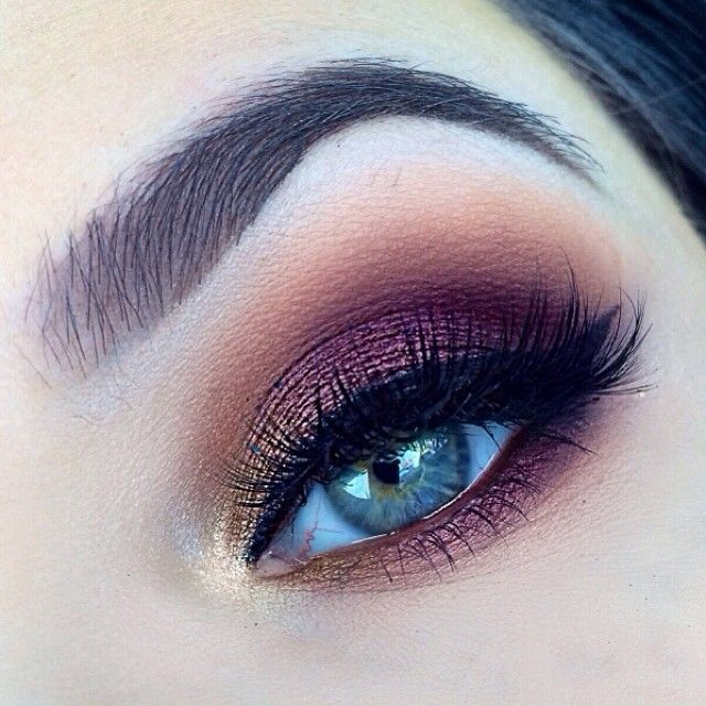 .@_tiarni_ | gold shadow in the edge blended to a purple shadow I used a nyx jumbo eye pencil in dark brown over... | Webstagram