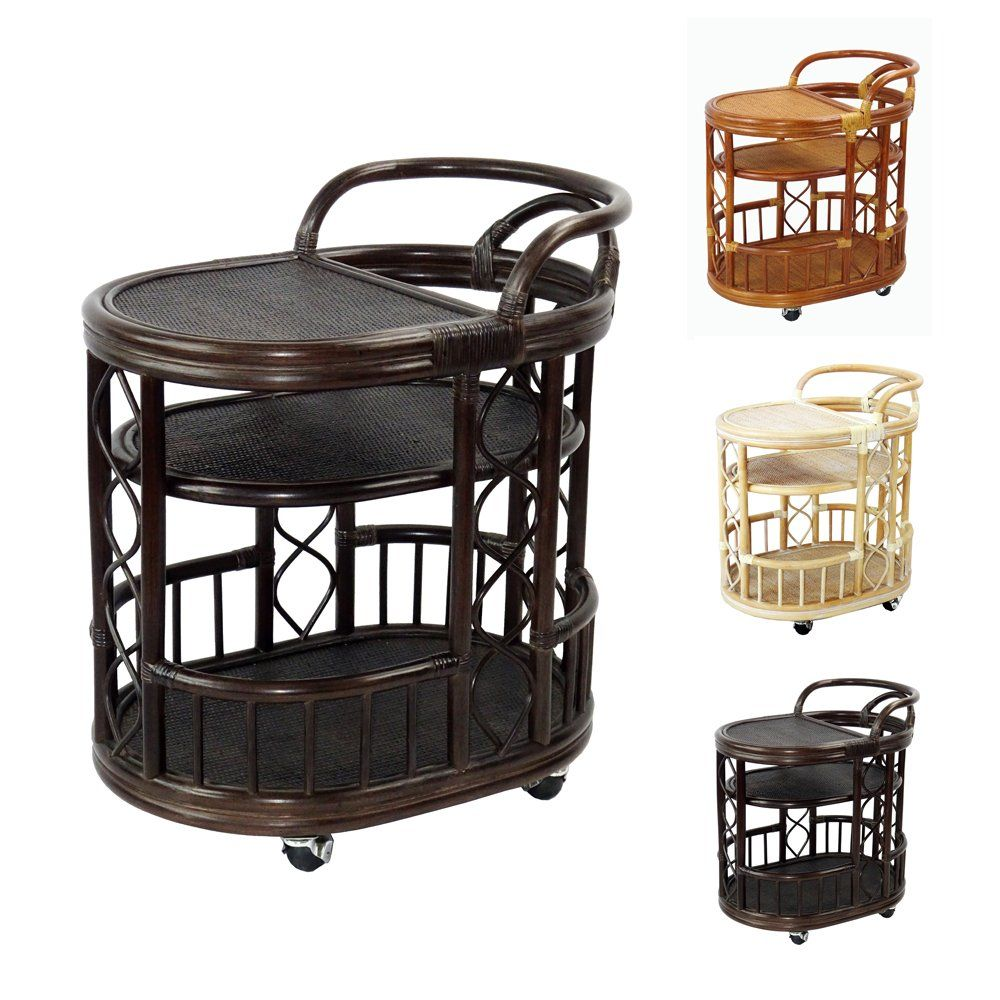 Serving Cart Handmade Woven Natural Rattan Wicker with