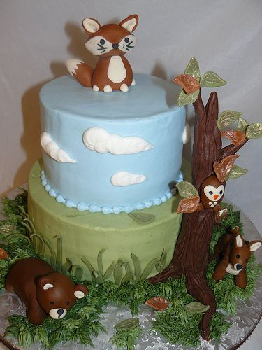 (first birthday ideas) Woodland themed cake.