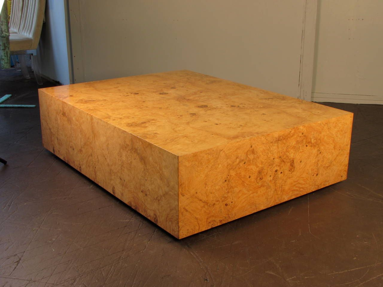 Enormous burled wood coffee table by milo baughman for