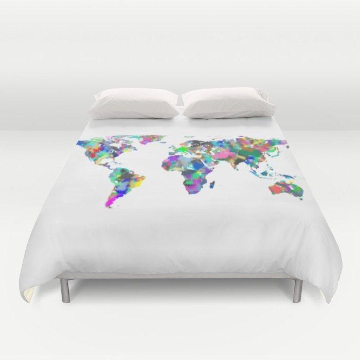 World map duvet cover full queen king duvet spray paint map world map duvet cover full queen king duvet spray paint map globe bed gumiabroncs Gallery
