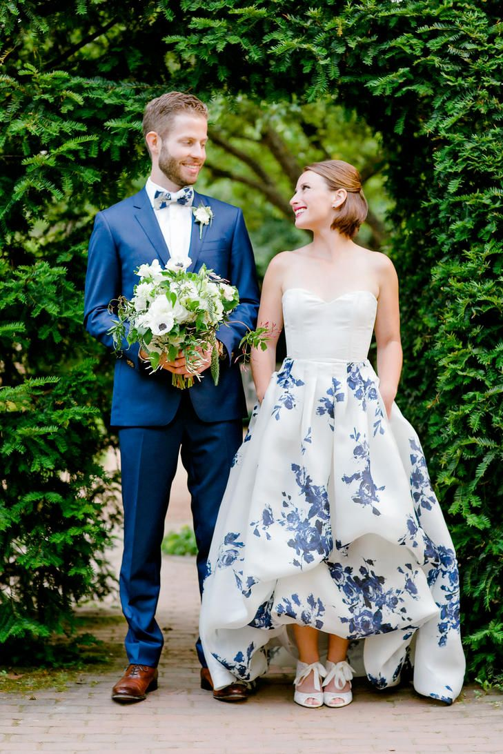 A Garden Party Wedding At Chicago Botanic Garden In Chicago Illinois Non White Wedding Dresses Wedding Dresses Blue Wedding Dresses