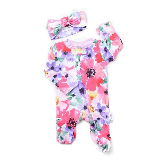 72315d5c1226 floral sleeper newborn baby girl watercolor floral one piece zipper ...