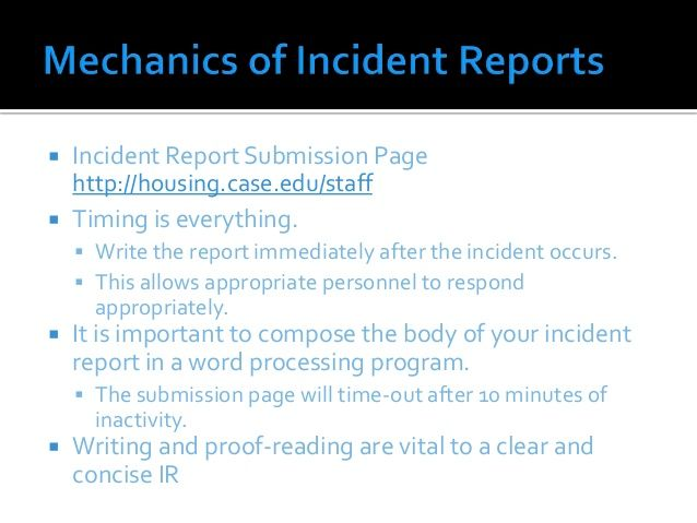 Incident Report Submission Page HttpHousingCaseEduStaff