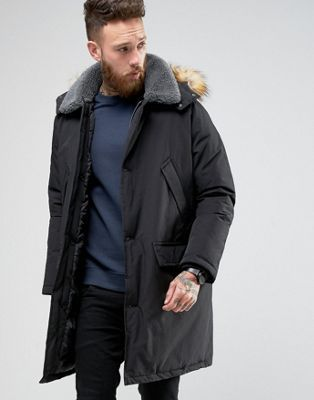 fast delivery new products the cheapest Parka Jacket With Borg Collar In Black | Mens Parkas ...
