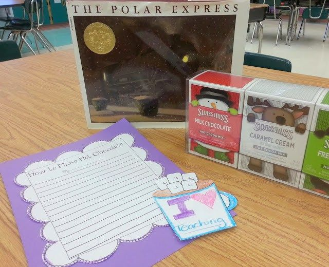 Love this for a polar express themed day! Students make hot chocolate, then write the steps. Cute free writing craft to go with it that could stay up into January.