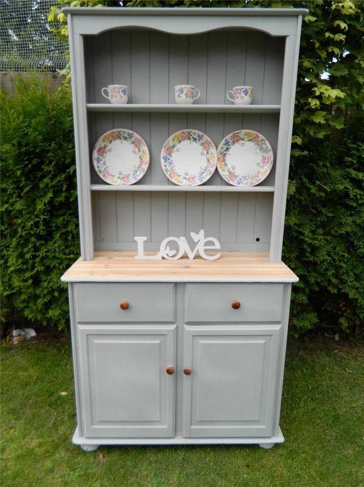 Shabby Pine Welsh Dresser Storage Display Cabinet Painted