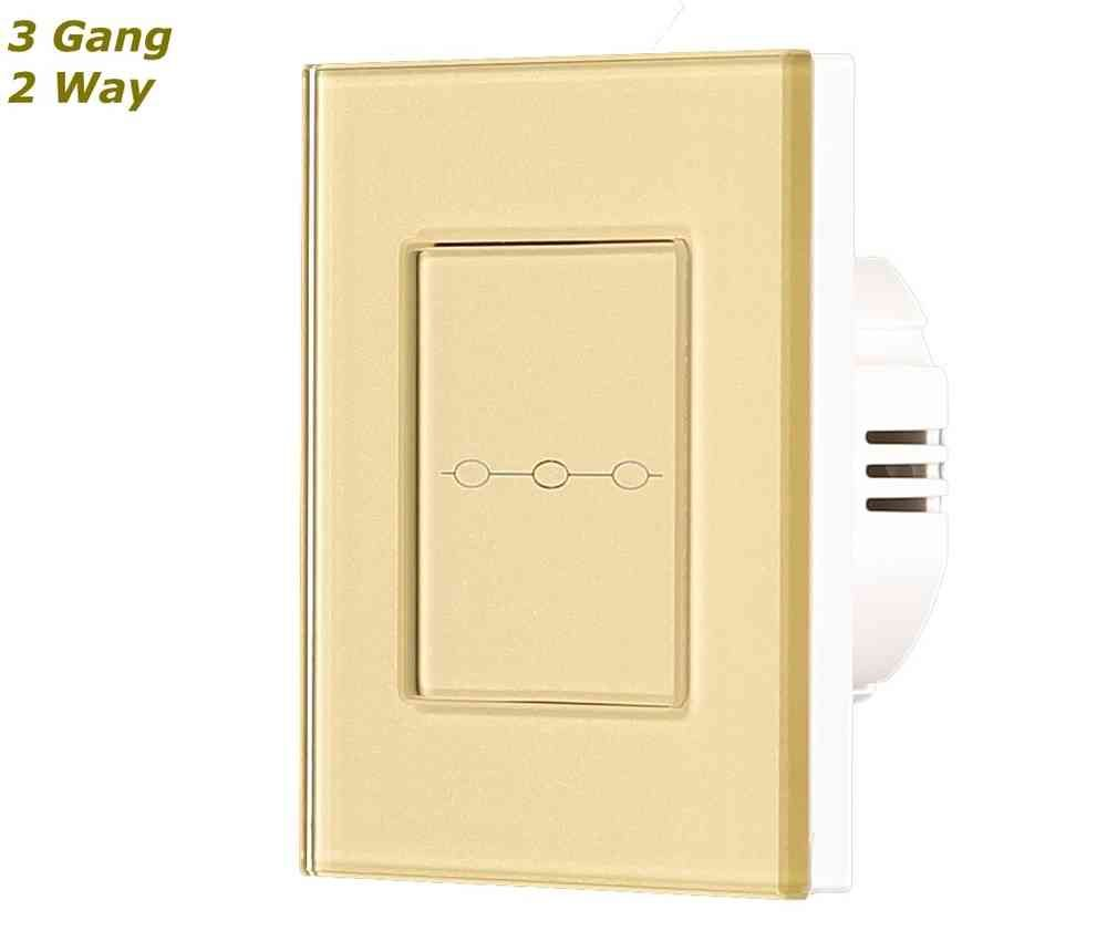 Gold Glass Frame Touch Sensitive Panel Light Switch On Off 3 Gang 2 Way Dimmer Glstouch Crystal