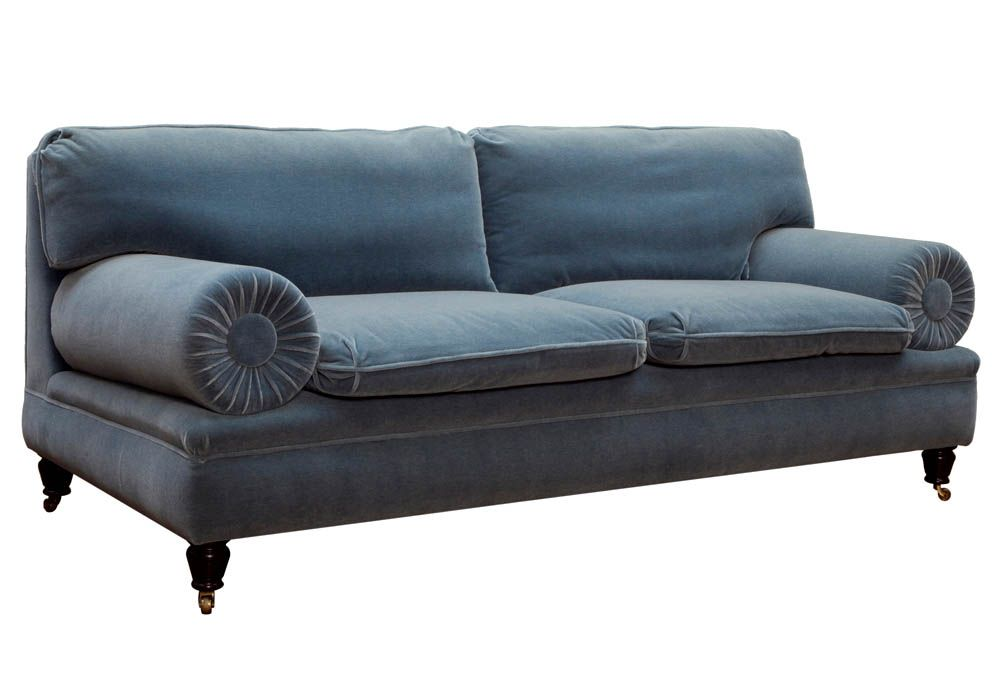French Blue Velvet Sofa