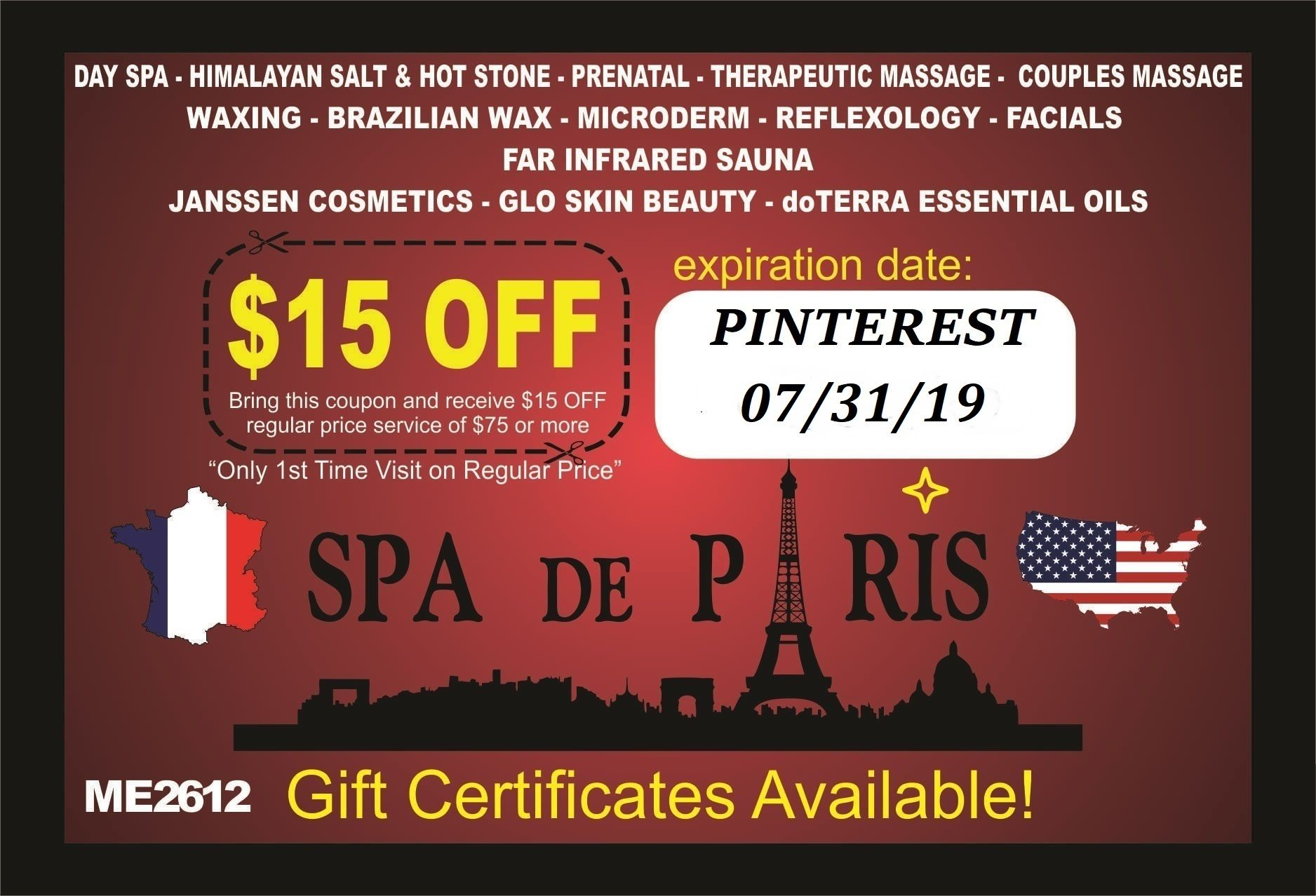 15 Off Coupon For The Month Of June July Spa Day Spa Birthday Week