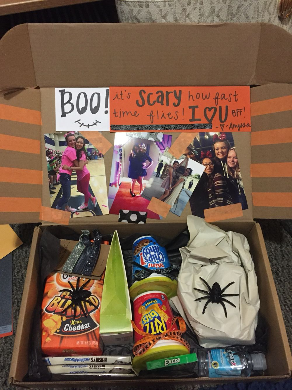 Halloween bff college care package! #spookybasketideasforboyfriend
