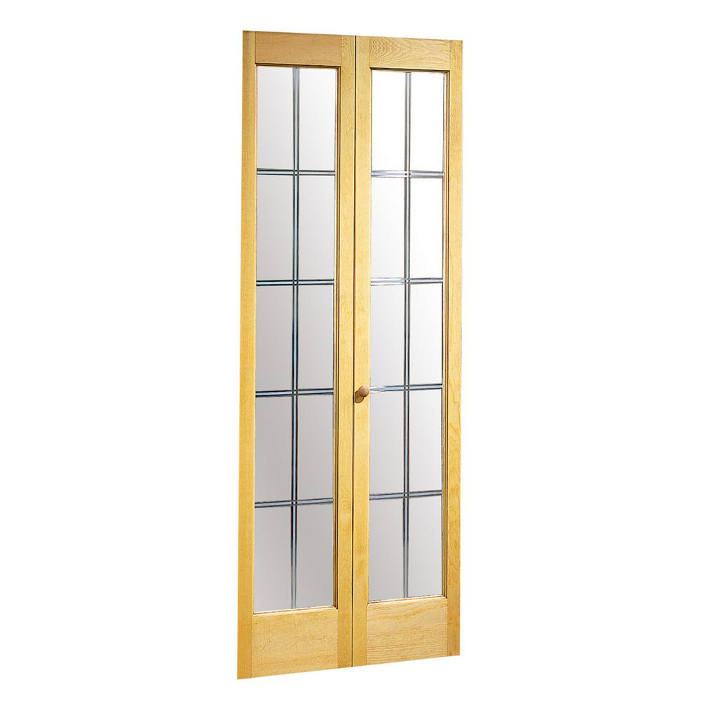 Pinecroft 24 In X 80 In Optique Decorative Frosted Glass With Solid Core Unfinished Pine Wood Bi Fold Door 87352 Bifold Doors French Doors Exterior Slab Door