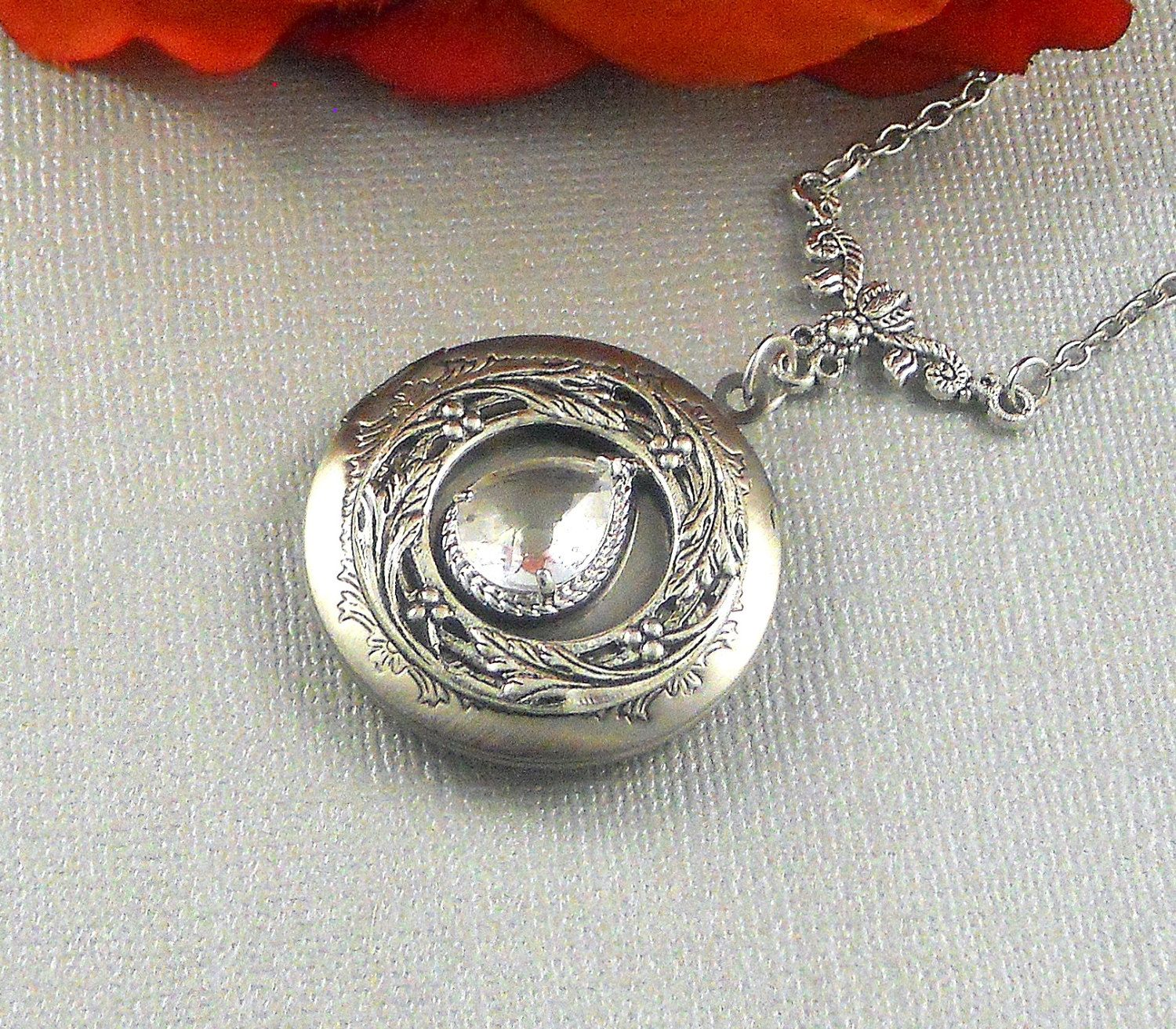 locket sterling lrg nouveau p silver antique round large style hp art lockets