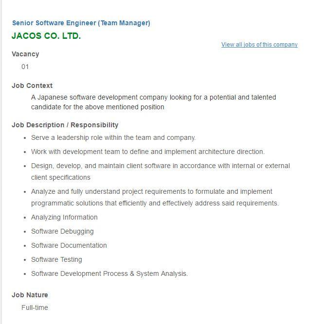 Career – JACOS CO. LTD- Senior Software Engineer (Team Manager ...