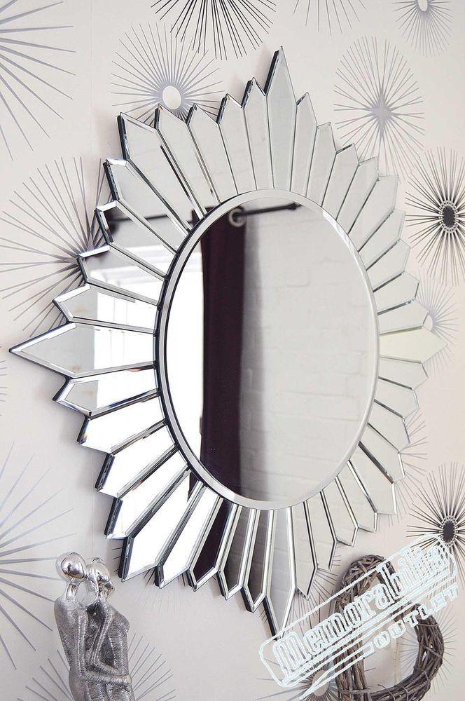 Large Modern Round Sunburst Design, Venetian Large Round Silver Wall Mirror