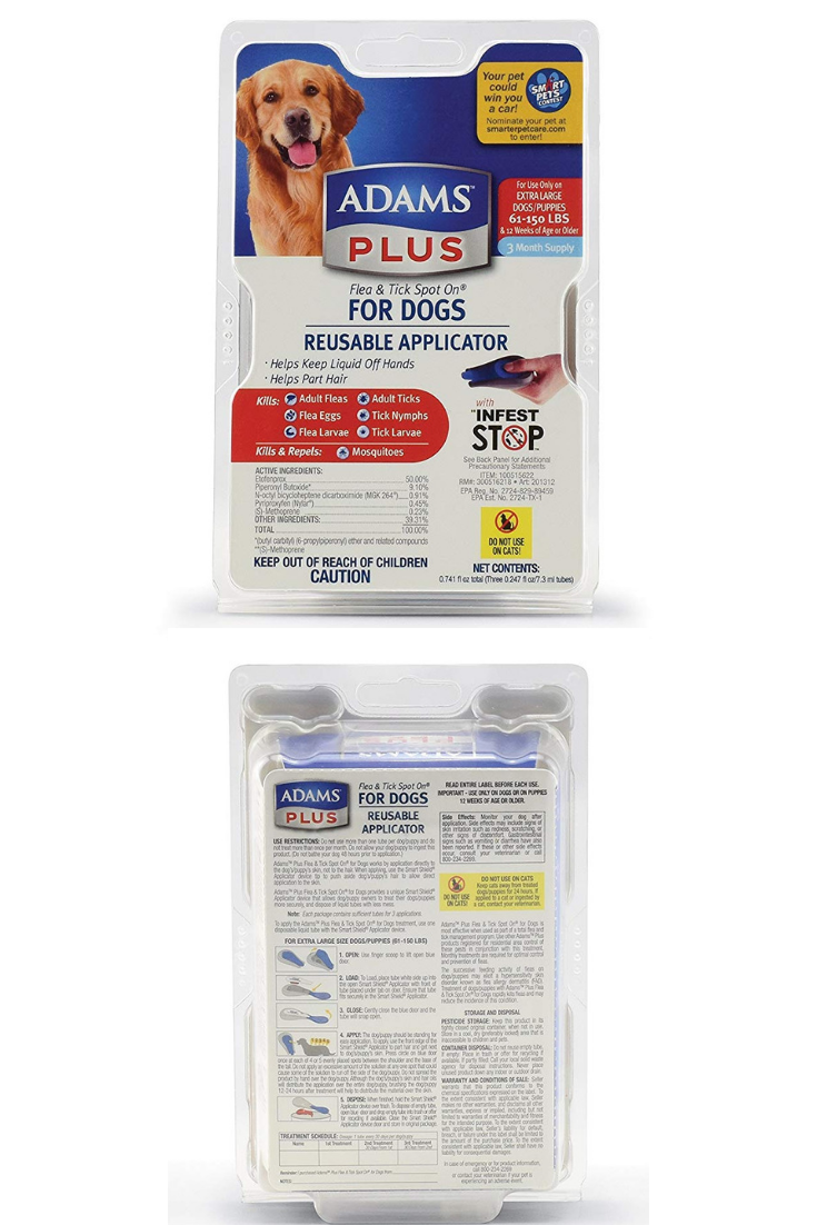 Adams Plus Flea And Tick Spot On For Dogs Extra Large Dogs 61 150 Pounds 3 Month Supply With Applicator Storeforpet Flea And Tick Fleas Ticks