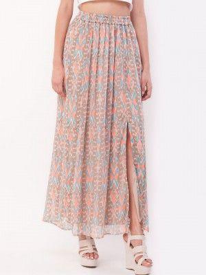 KOOVS Printed Side Split Maxi Skirt | midi skirt online india ...