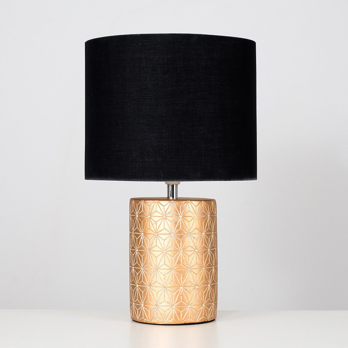 Constellation Gold Ceramic Table Lamp With Black Shade