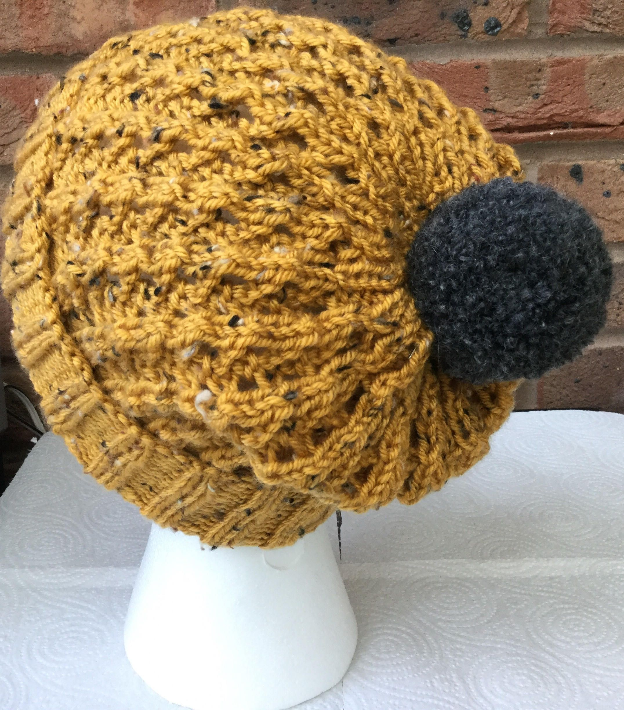 6c44c3b5282 Hand Knit Ribbed Lace Slouch Hat In Mustard Tweed Yarn by  HandknitHatsByAuntyM on Etsy