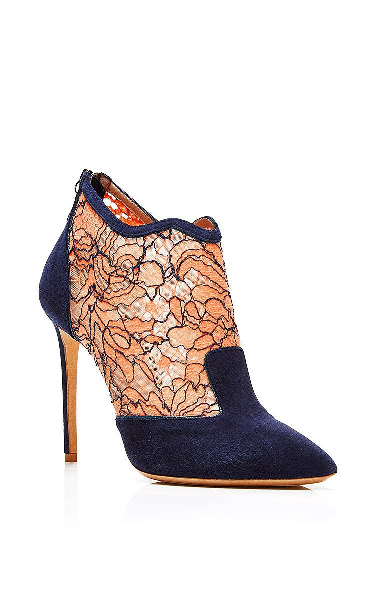 Lace and Suede Ankle Boots by Nicholas Kirkwood Now Available on Moda Operandi