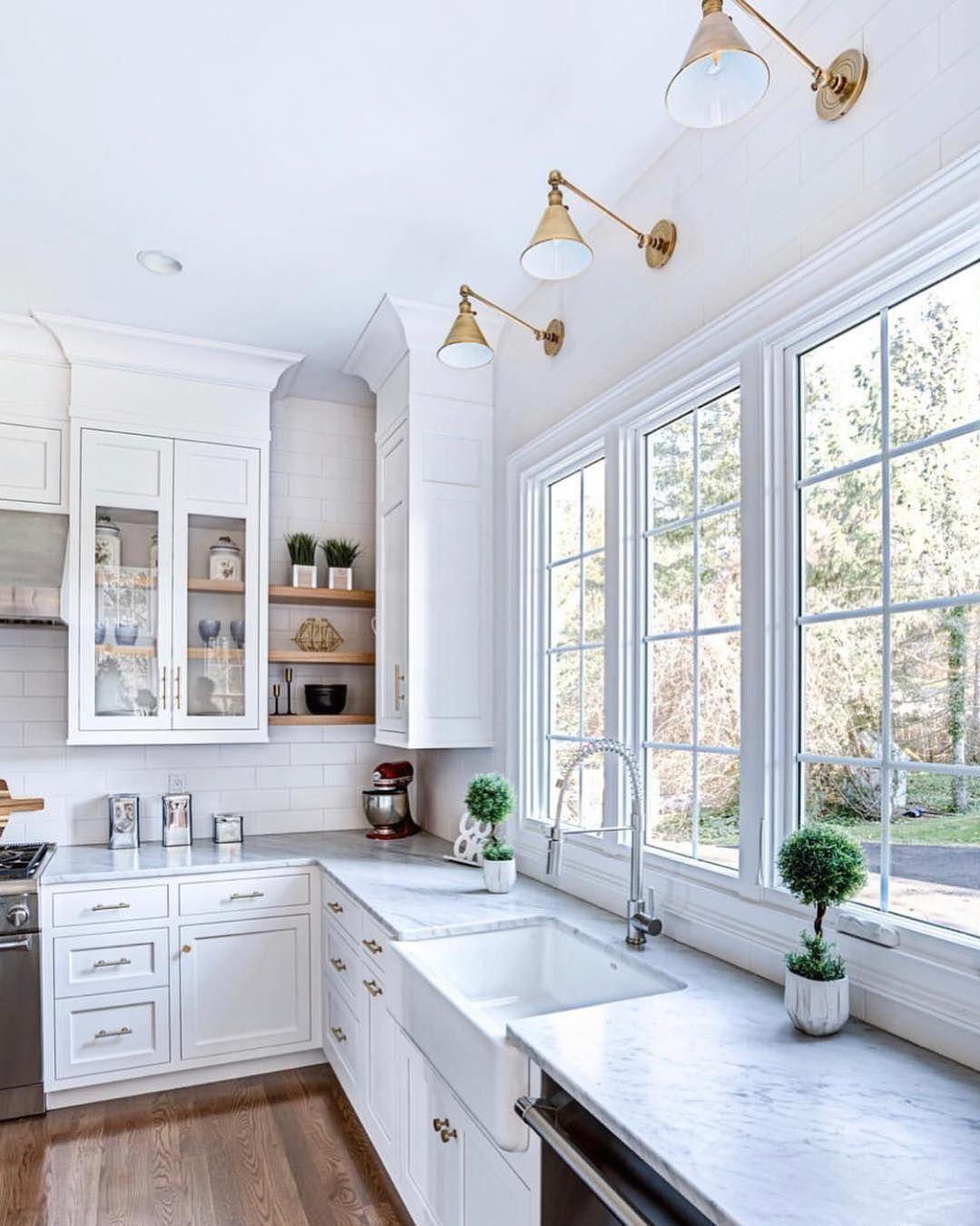 Noell Daniel Jett On Instagram 3 Windows Above The Sink Open Shelving Perfectly C In 2020 Kitchen Renovation Design Kitchen Window Design Light Above Kitchen Sink