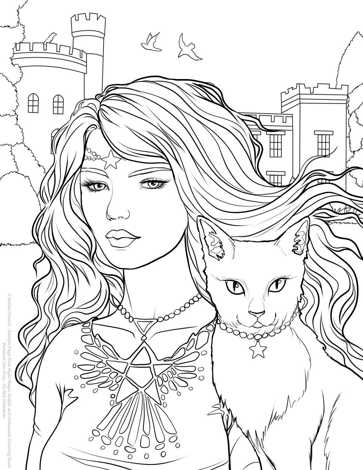 Ausmalbilder Halloween Kostenlos : Halloween Selina Fenech Fantasy Coloring Pages For Adults