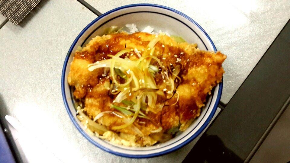 Katsudon Chicken Katsu Donburi Serve With Pouched Egg Teriyaki Sauce And Slices Grilled Onion
