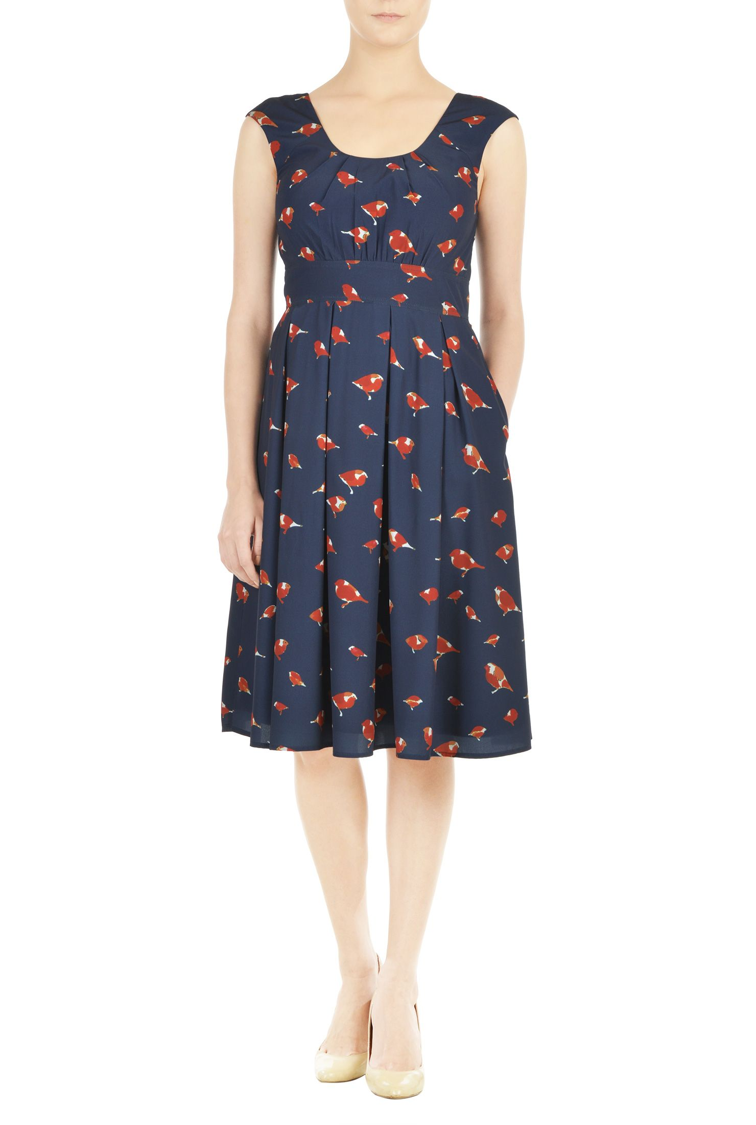 Below knee length dresses bird print dresses cap sleeve dresses
